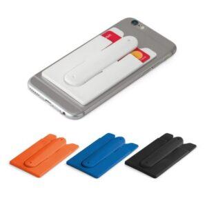 PORTA CARTÕES C/ SUPORTE – Porta cartões para smartphone, em silicone, com autocolante no verso