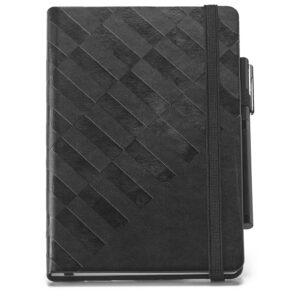 CADERNO EXECUTIVO – Caderno A5 com capa rígida em imitação de pele com 128 folhas pautadas.