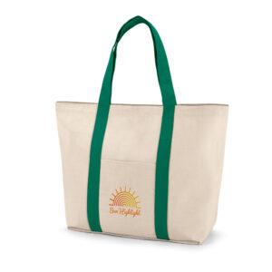 SACOLA DE ALGODÃO – 100% algodão canvas: 280 g/m². Bolso bolso frontal e bolso interior com zíper.
