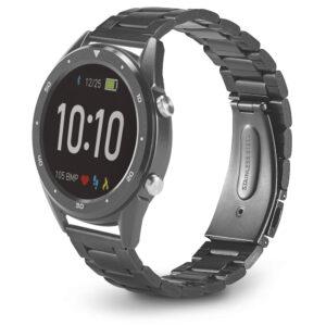 RELÓGIO DIGITAL – sofisticado relógio inteligente resistente à água, com bracelete em aço inox.