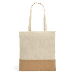 SACOLA – 100% algodão: 160 g/m². Detalhe em juta. Alças de 65 cm.