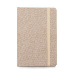 CADERNO – Capa dura. Tecido em poliéster. 80 folhas pautadas.