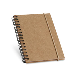 CADERNO – Capa dura. Com 60 folhas pautadas de papel reciclado.