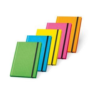 CADERNO CAPA DURA –  fluorescente. 96 folhas pautadas.