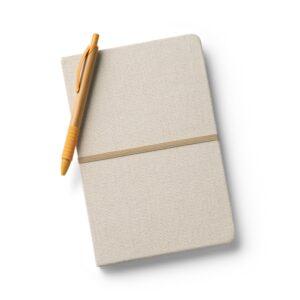 CADERNO CAPA DURA – Linho. Cantos redondos. 96 folhas pautadas.