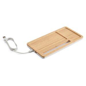 ORGANIZADOR DE SECRETÁRIA –  Bambu e ABS. Carregador wireless, hub USB e suporte para celular.