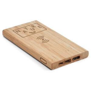 BATERIA PORTÁTIL – Bambu. Bateria de lítio. Capacidade: 5.000 mAh.