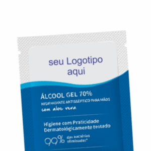 álcool gel 70 em sachê personalizado