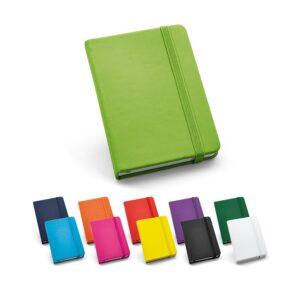 Caderno de capa dura tipo moleskine personalizado sem pauta.