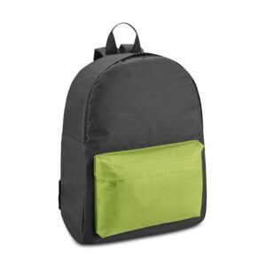 Mochila preta com bolso frontal colorido personalizada no transfer infantil e adulto