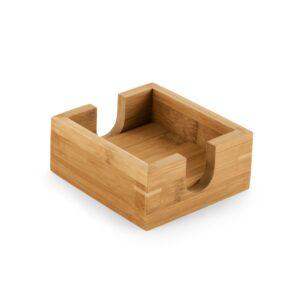 Kit com quatro porta copos, feito em bambu.